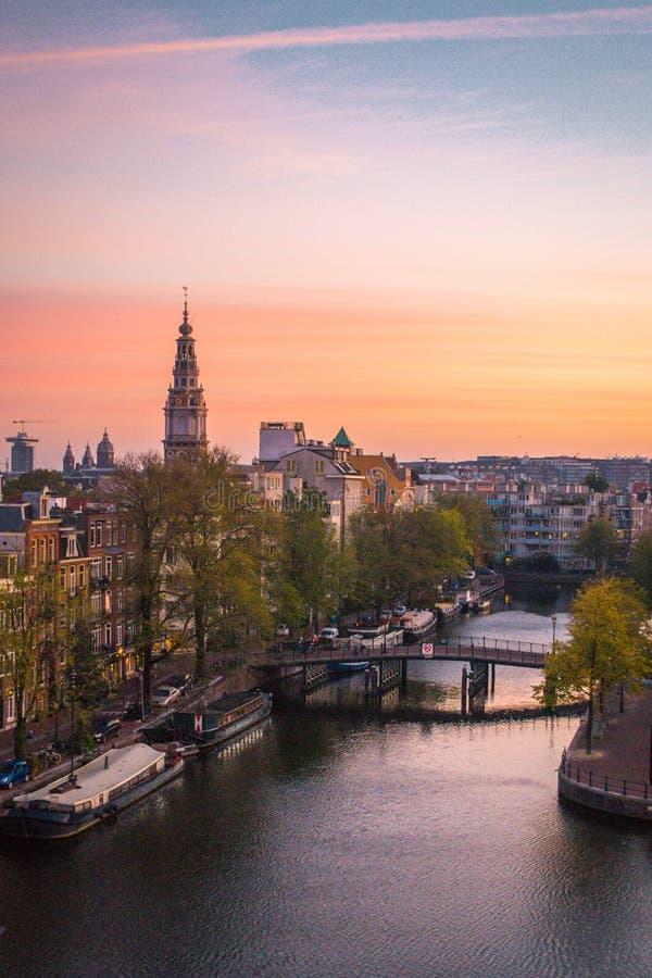 荷兰黎明在阿姆斯特丹 库存照片