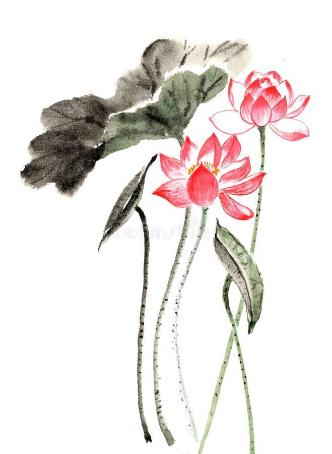 荷花中国墨水手绘画  向量例证