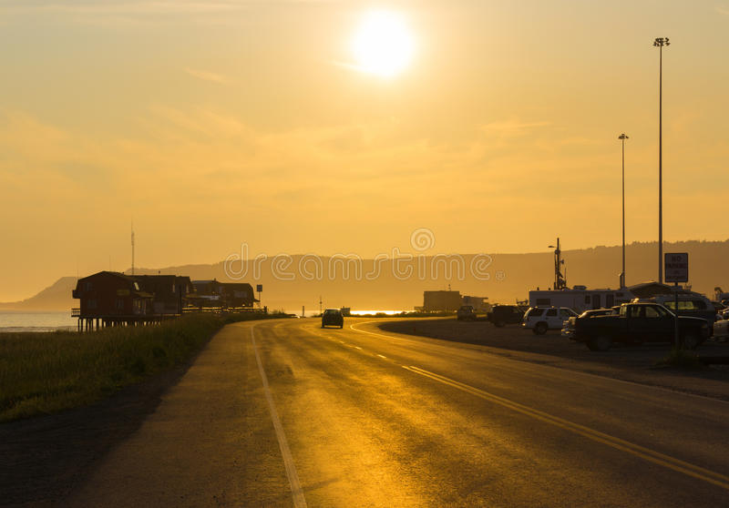荷马在日落港口港口的阿拉斯加 库存照片