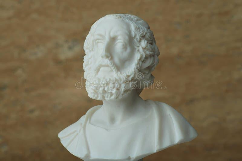 荷马,古希腊诗人雕象  免版税库存照片