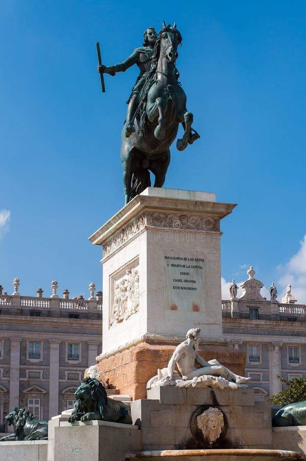 费莉佩的Onument IV西班牙在Plaza de Oriente在马德里 免版税图库摄影