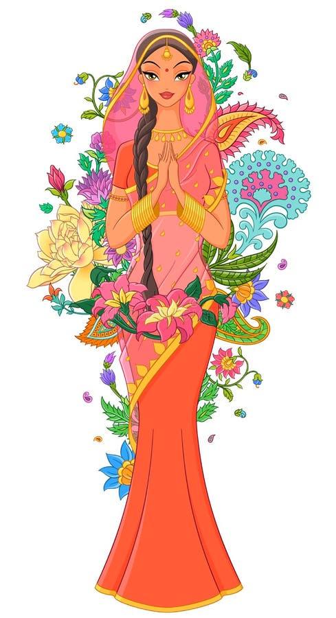 莎丽服的印地安女孩围拢与花和装饰品 在空白背景查出的向量例证 向量例证