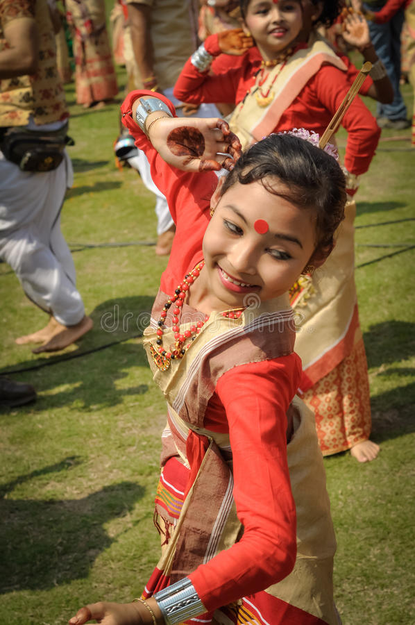 莎丽服的微笑的女孩在阿萨姆邦 免版税库存图片