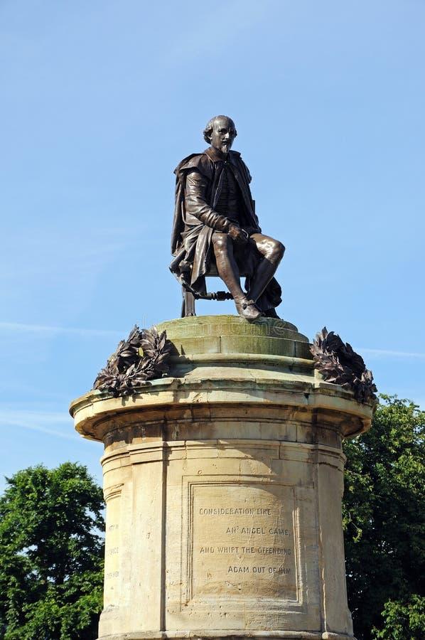 莎士比亚雕象,斯特拉福在Avon 库存图片