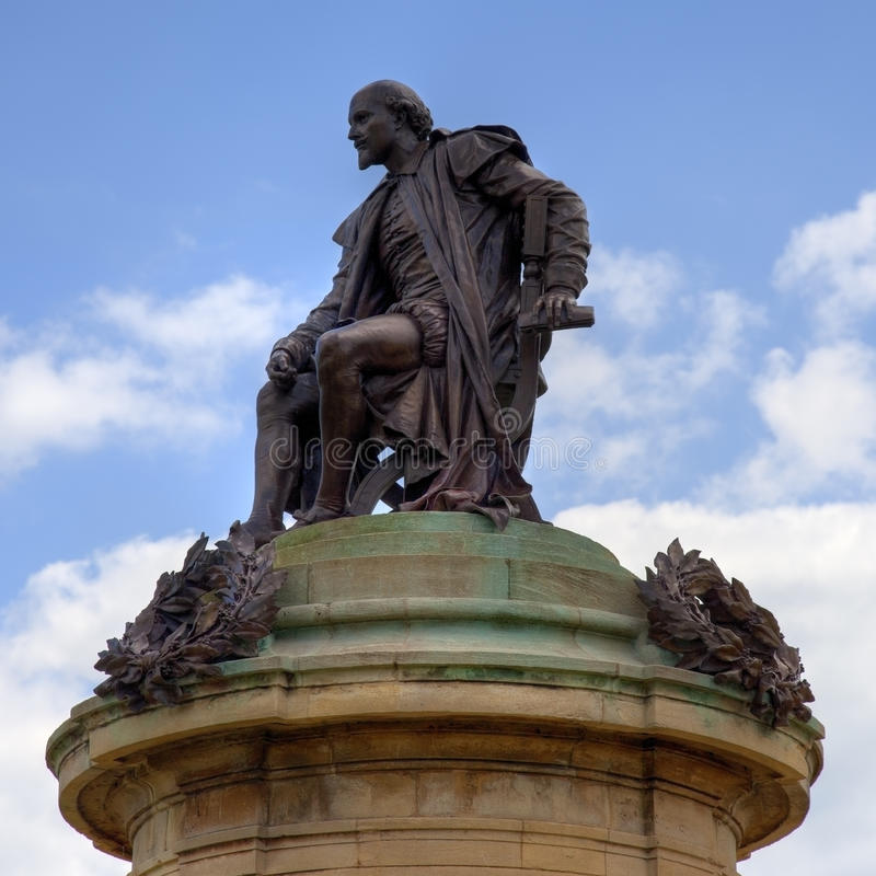 莎士比亚雕象 免版税图库摄影