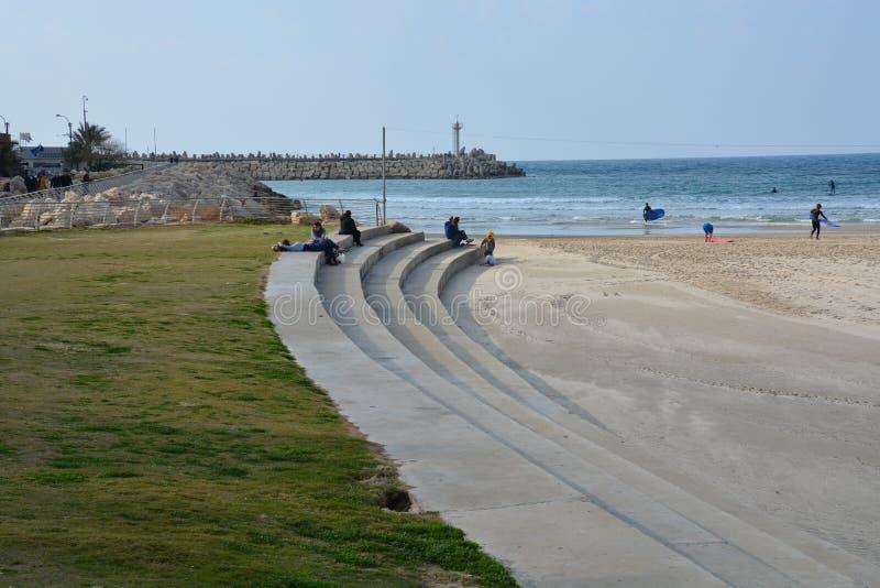 莎朗海滩-赫兹里亚 免版税图库摄影