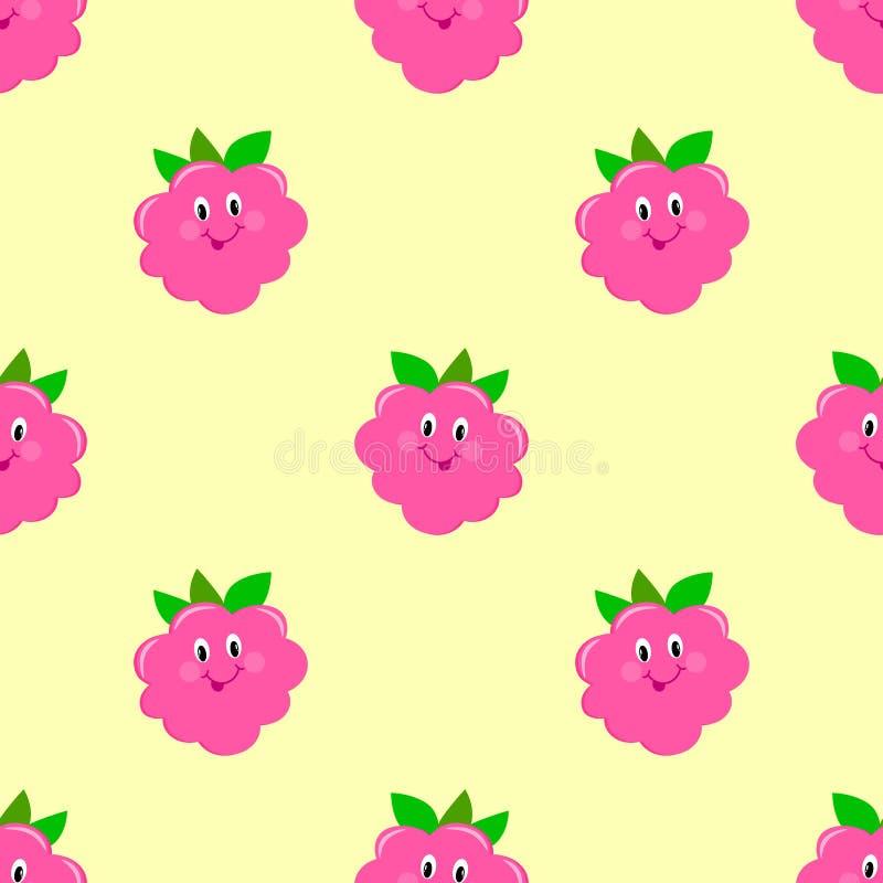 莓动画片无缝样式微笑,滑稽 皇族释放例证