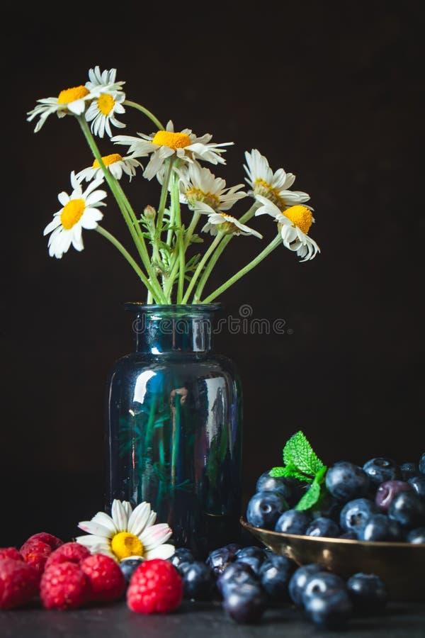 莓和蓝莓与春黄菊和叶子在黑暗的背景 夏天和健康食品概念 ?? 免版税图库摄影