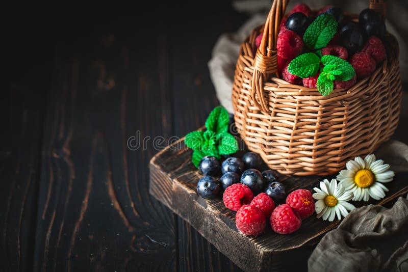 莓和蓝莓在一个篮子与春黄菊和叶子在黑暗的背景 夏天和健康食品概念 库存图片