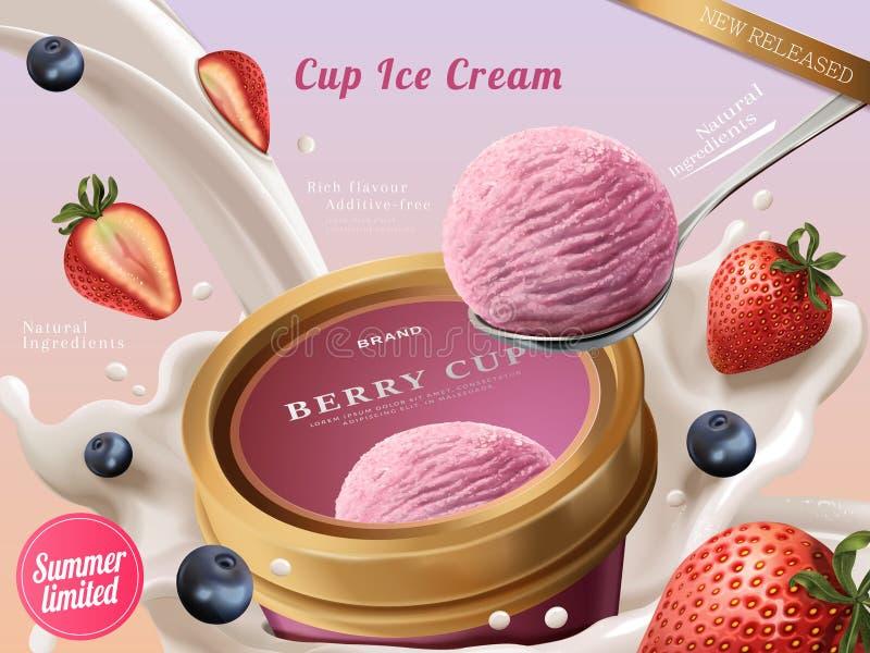 莓果冰淇凌杯子广告 库存例证