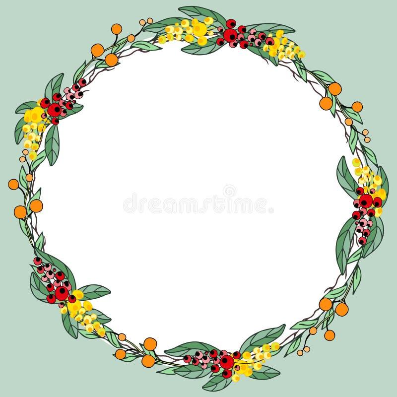 莓果和叶子构筑或缠绕设计模板 库存图片