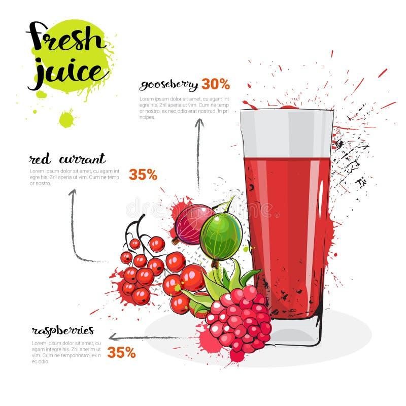 莓果新鲜的汁液手拉的水彩果子和玻璃混合鸡尾酒在白色背景 向量例证