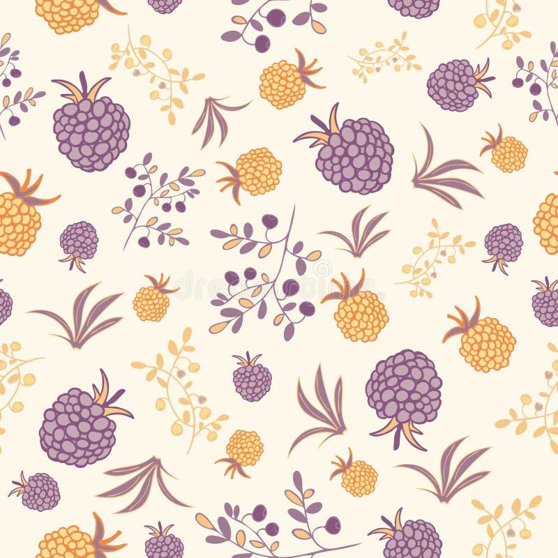 莓果灌木和分支样式 皇族释放例证