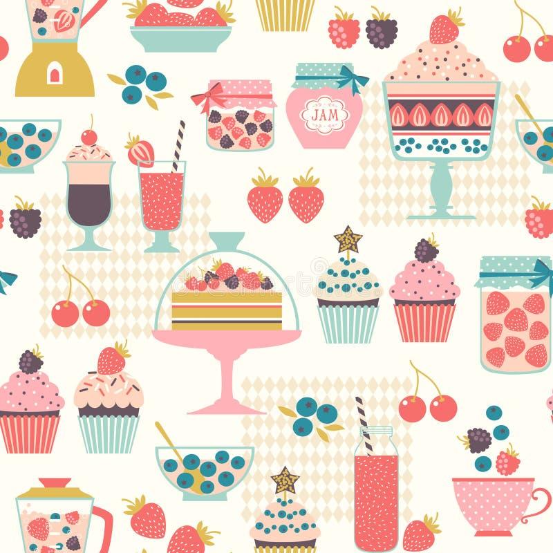 莓果甜点样式 皇族释放例证