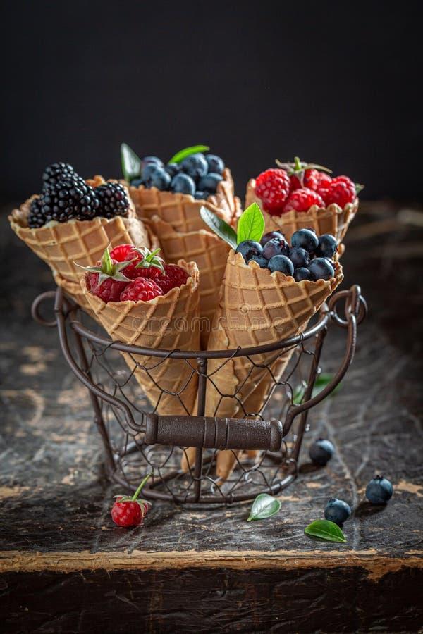 莓果的混合在waffels的作为自创冰淇淋 库存照片