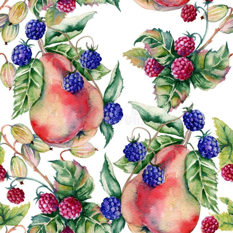 莓果莓、黑莓、鹅莓和梨背景  无缝的模式 皇族释放例证