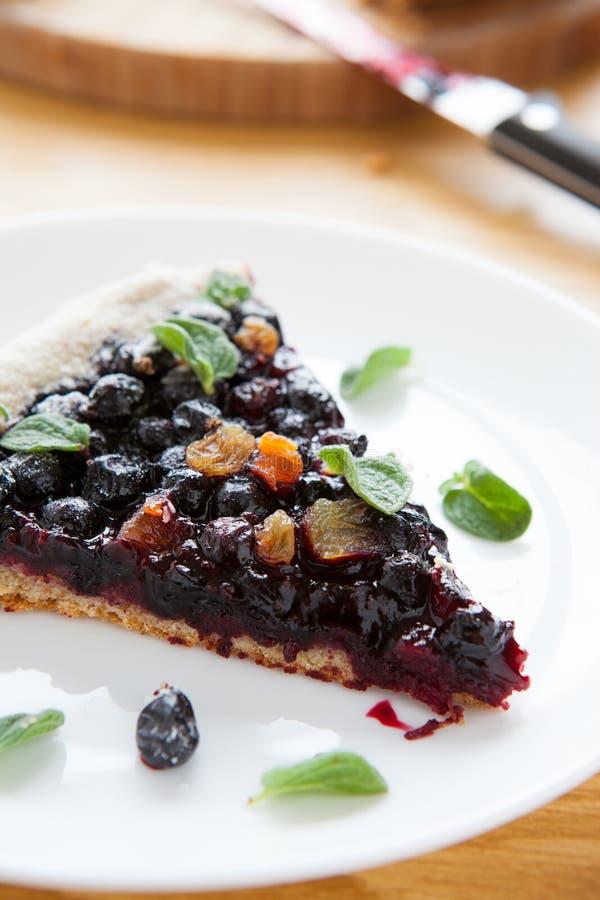 莓果饼、黑醋栗和蓝莓大片断  免版税库存图片