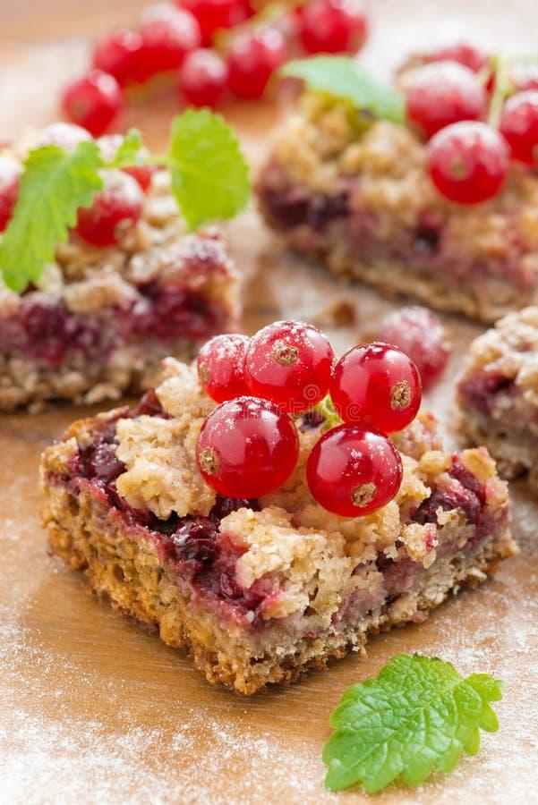 莓果馅饼用新鲜的红浆果,特写镜头 免版税库存图片