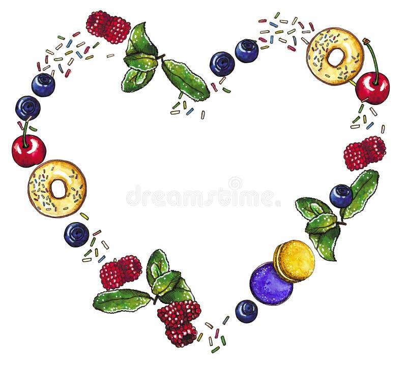 莓果,甜自然点心心形的花圈,手拉的水彩例证 向量例证