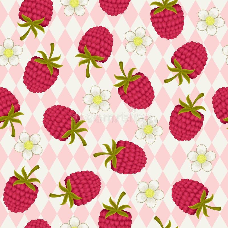 莓桃红色无缝的墙纸 库存例证