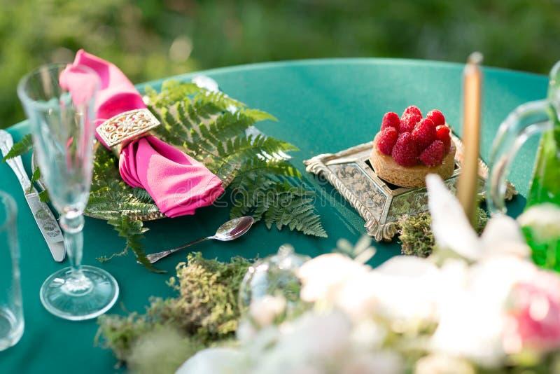 莓点心 制表设置 婚礼装饰在一对爱恋的夫妇的不可思议的森林里 桃红色和绿色 库存照片