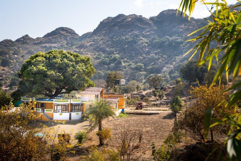 莫乌恩特阿布/印度12 02 2019年:登上abu的美丽的房子 库存照片