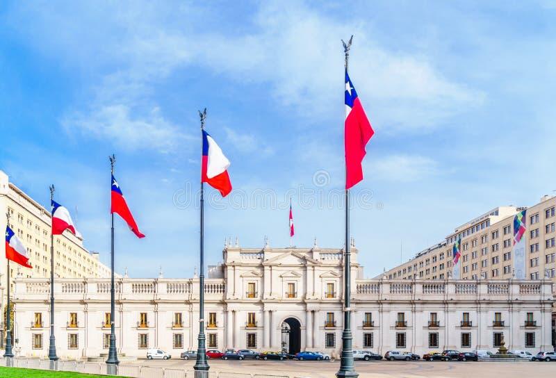 莫内达宫在圣地亚哥de智利 库存图片