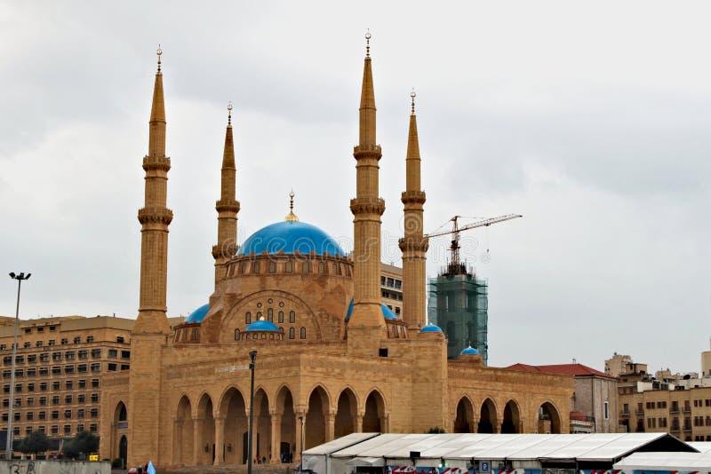 莫哈末Al阿明清真寺在贝鲁特在黎巴嫩 图库摄影