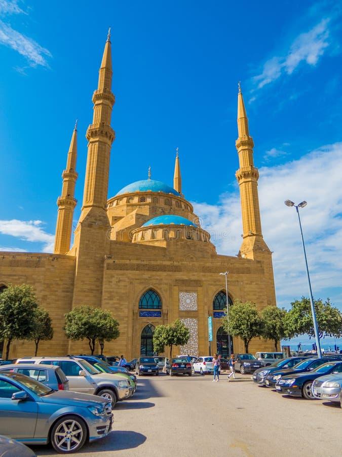 莫哈末Al阿明清真寺在贝鲁特,黎巴嫩 免版税库存照片