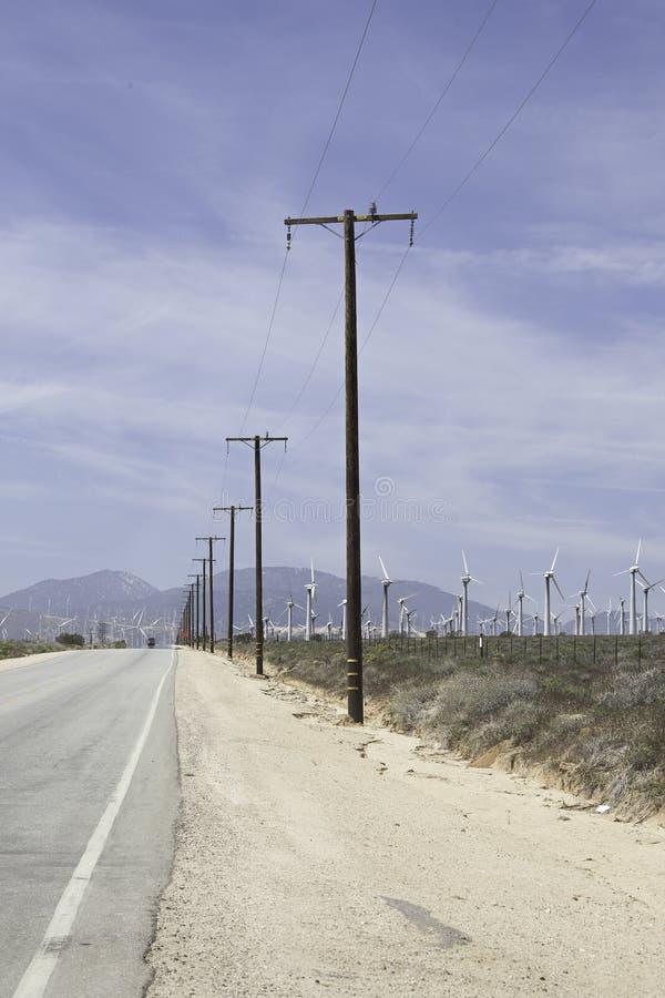 莫哈韦沙漠风力场 库存图片