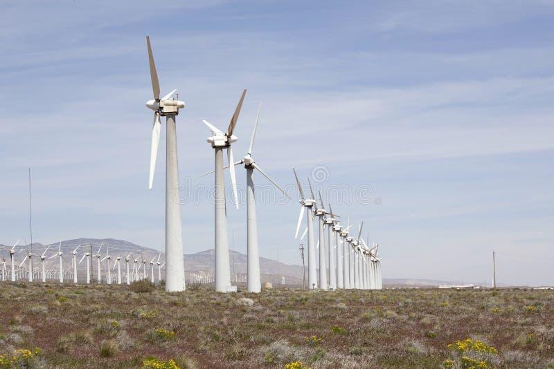 莫哈韦沙漠风力场 免版税库存照片