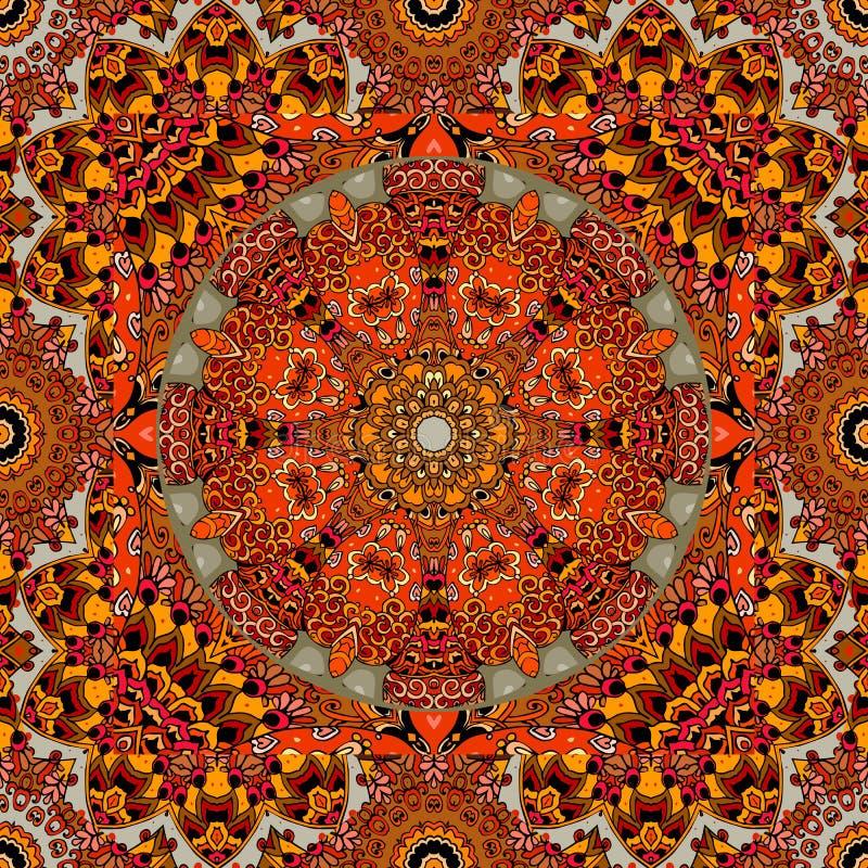 莫尔多瓦共和国国民样式 与太阳的轮子、风格化花和装饰框架的明亮的传染媒介例证 向量例证