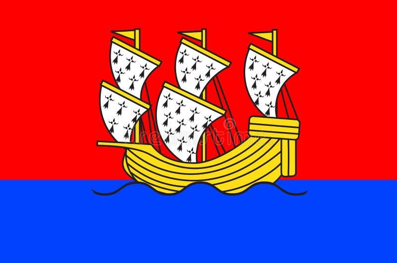 莫尔莱旗子在布里坦尼,法国菲尼斯泰尔省  向量例证