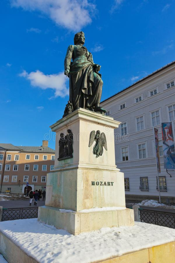 莫扎特雕象在萨尔茨堡奥地利 库存图片