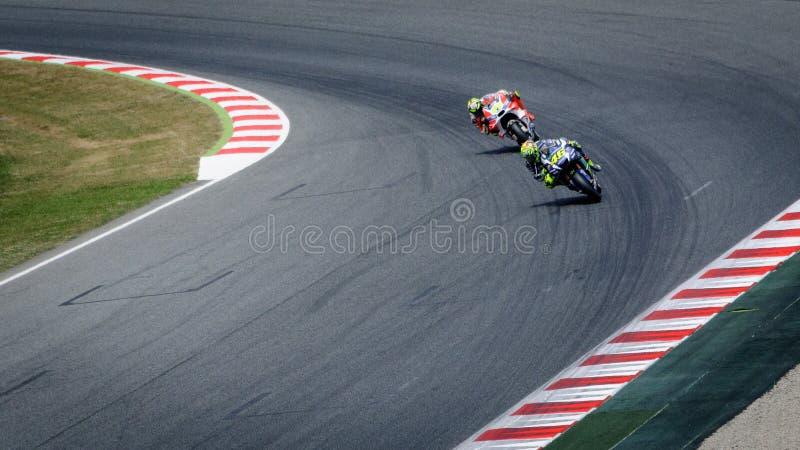 莫托GP世界冠军,加泰罗尼亚电路蒙特梅洛,西班牙 免版税库存图片