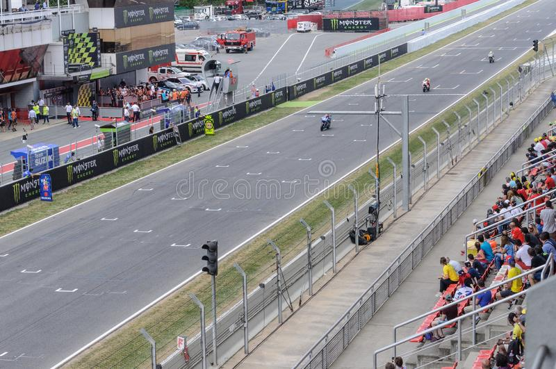 莫托GP世界冠军,加泰罗尼亚电路蒙特梅洛,西班牙 库存照片
