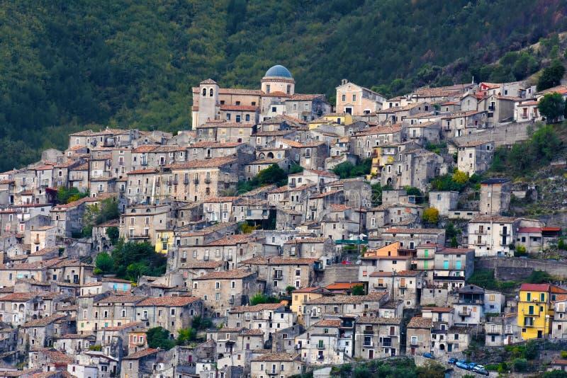 莫拉诺卡拉布罗,一个小历史的村庄在卡拉布里亚 免版税库存图片