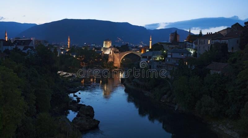 莫斯塔尔,最Stari,老桥梁,地平线,标志,奥斯曼帝国,波黑,欧洲,战争,重建 免版税库存照片
