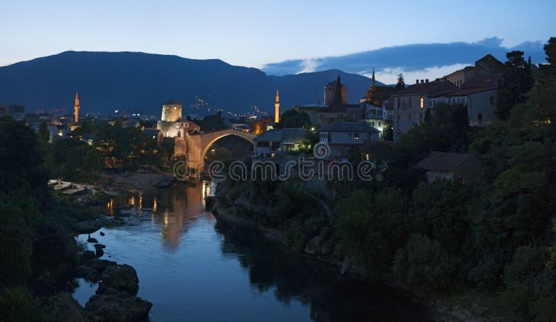 莫斯塔尔,最Stari,老桥梁,地平线,标志,奥斯曼帝国,波黑,欧洲,战争,重建 图库摄影