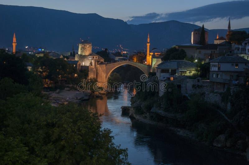 莫斯塔尔,最Stari,老桥梁,地平线,标志,奥斯曼帝国,波黑,欧洲,战争,重建 免版税库存图片