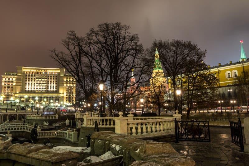 莫斯科、克里姆林宫和亚历山大视域从事园艺, 库存照片