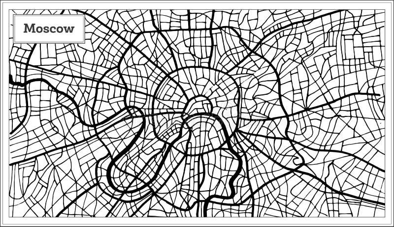 莫斯科俄罗斯在黑白颜色的市地图 向量例证