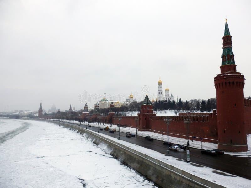 莫斯科克里姆林宫在冬天 免版税图库摄影