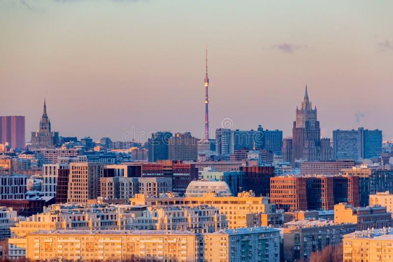 莫斯科全景日落的 城市地平线在冬日 免版税图库摄影