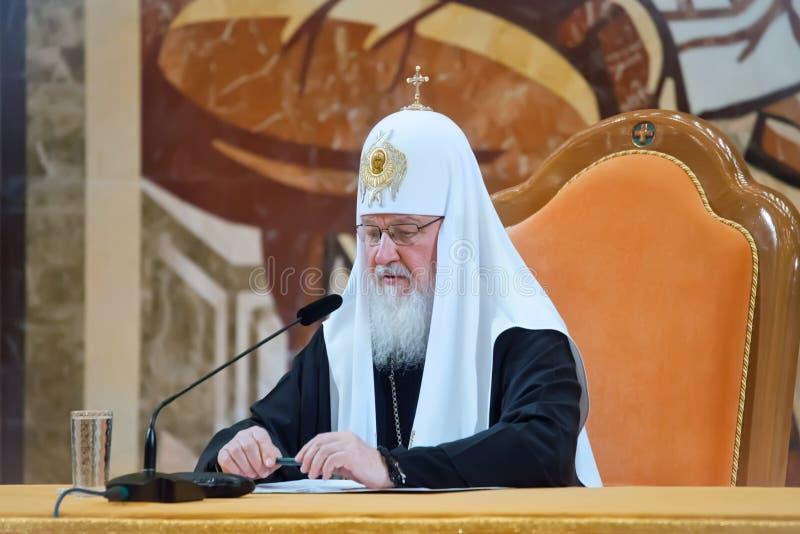 莫斯科和所有俄罗斯的族长Kirill第7个一般教会的 库存照片