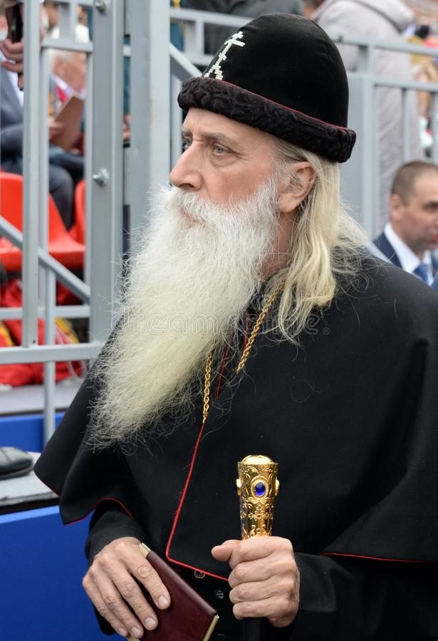 莫斯科和所有俄罗斯,东正教老信徒教会科尼利厄斯的大主教的城市居民莫斯科红场的  免版税库存图片