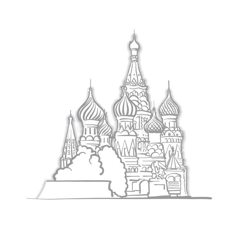 莫斯科圣徒蓬蒿大教堂剪影 向量例证