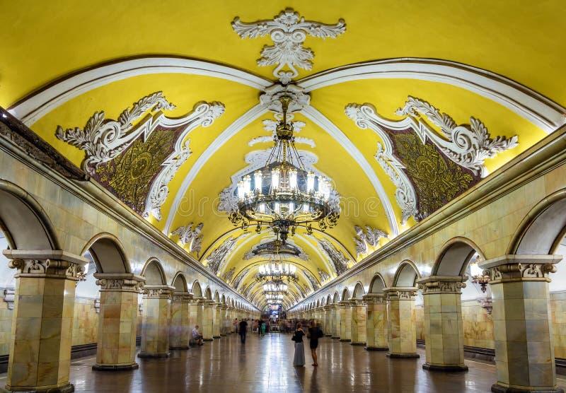莫斯科地铁的Komsomolskaya (Koltsevaya线)驻地 免版税库存图片