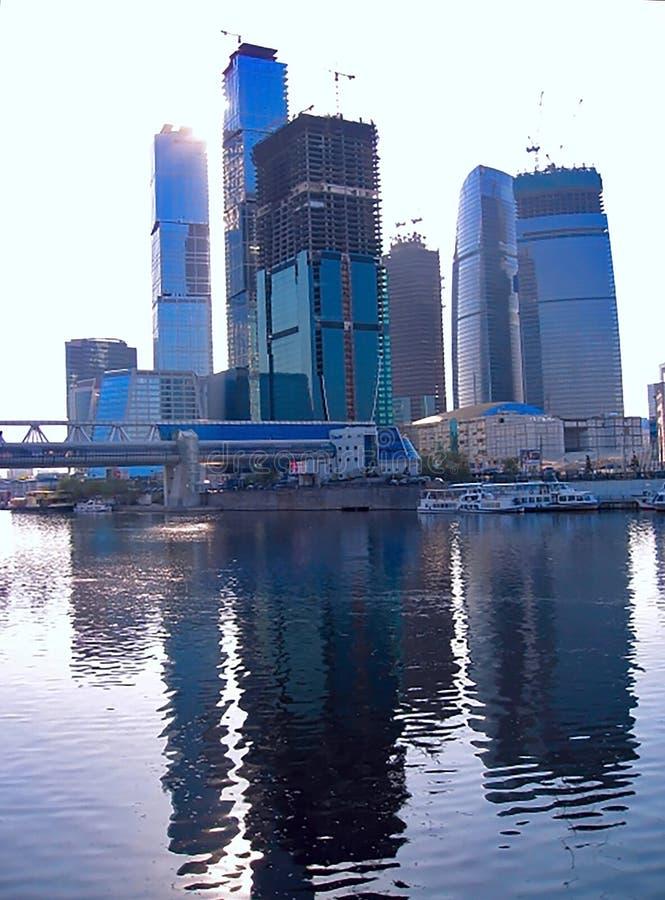 莫斯科城市摩天大楼看法  莫斯科城市莫斯科国际商业中心 免版税图库摄影