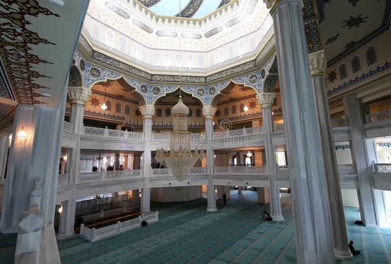 莫斯科大教堂清真寺(内部),俄罗斯--主要清真寺在莫斯科 免版税库存图片